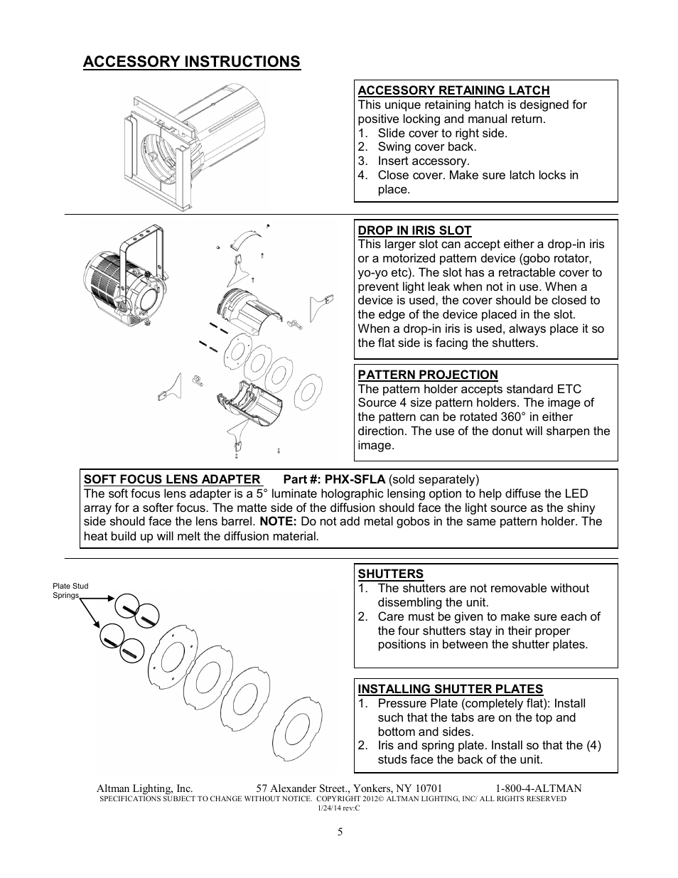 Accessory instructions | Altman Lighting Phoenix LED Profile Spot User  Manual | Page 5 / 12