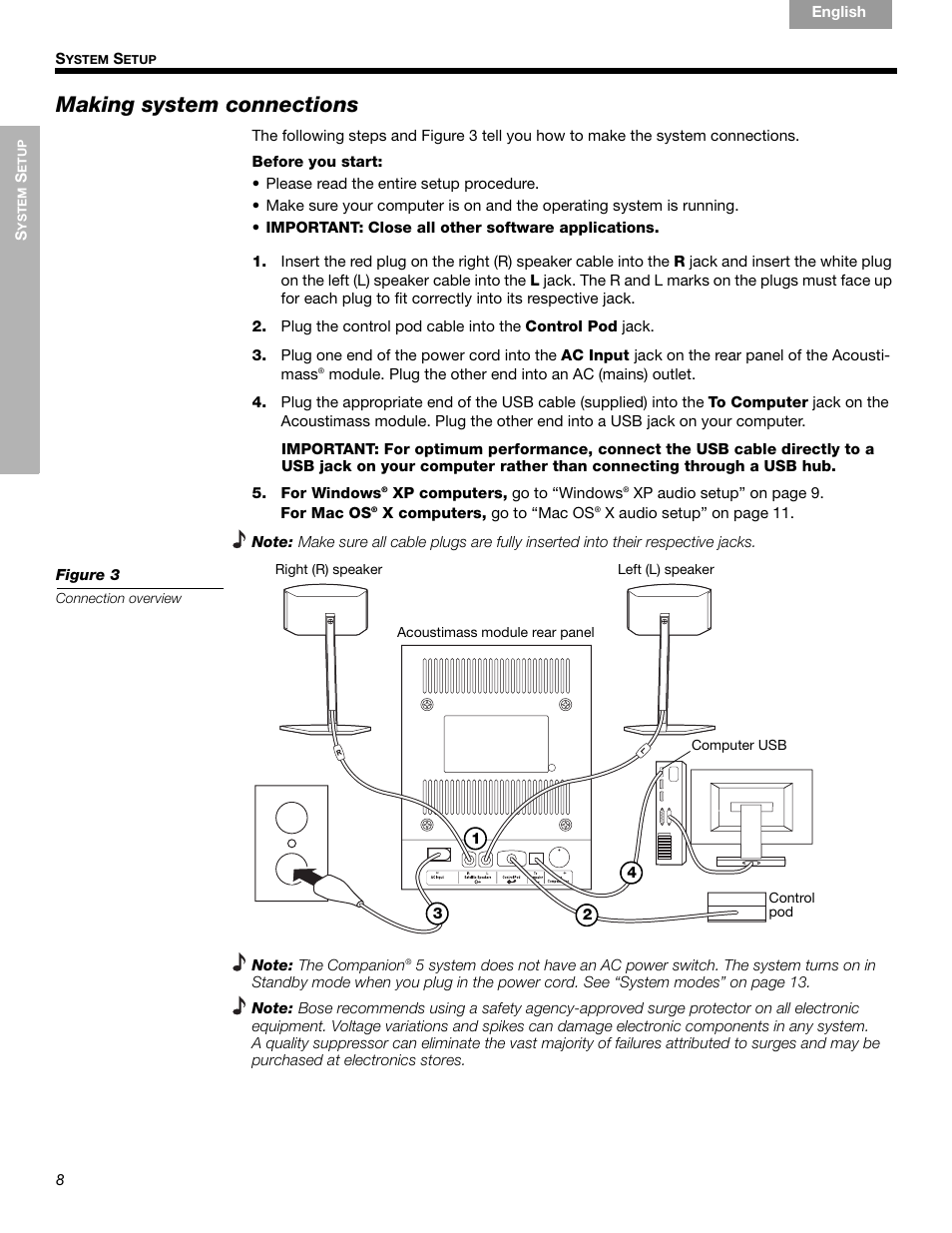 making system connections bose companion 5 user manual page 10 rh manualsdir com Bose Companion 20 bose companion 5 manuale