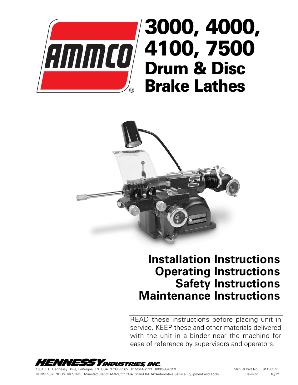 AMMCO 7700 Drum and Disc Brake lathe User Manual | 20 pages