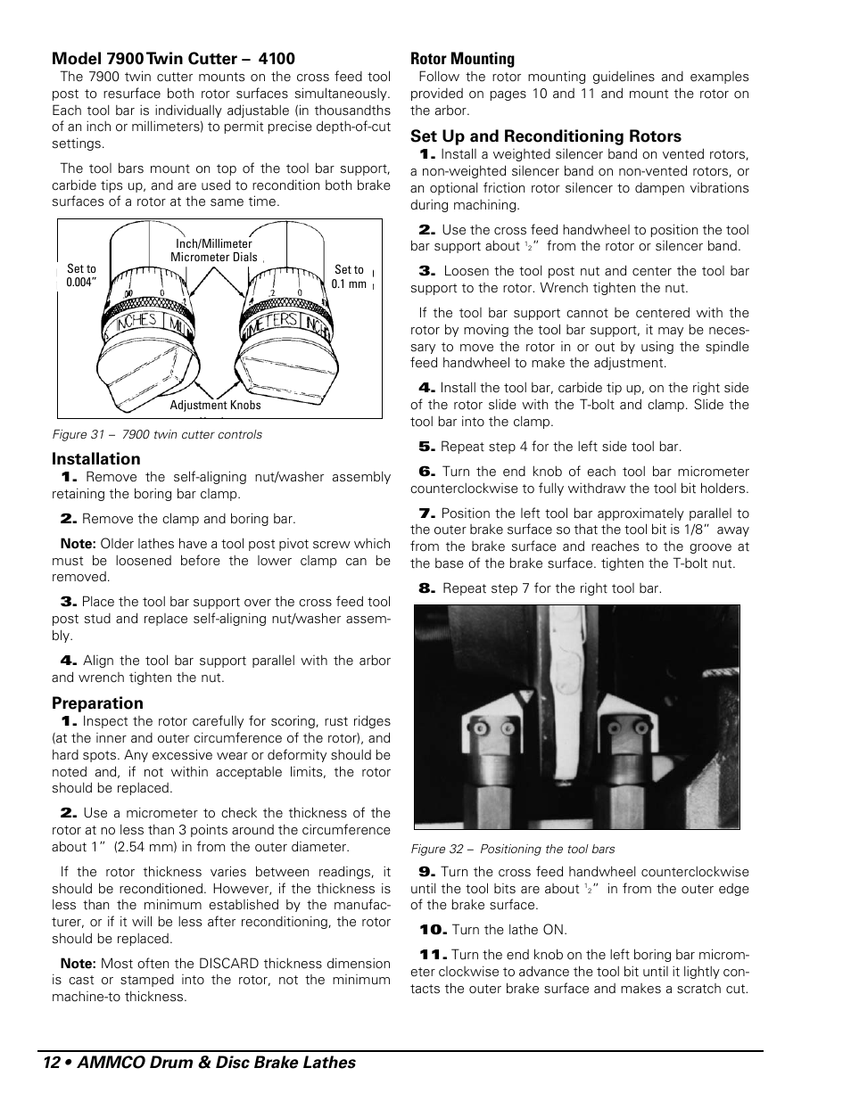 AMMCO 7700 Drum and Disc Brake lathe User Manual | Page 16