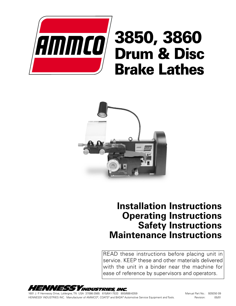 AMMCO 3860 Drum & Disc Brake Lathe User Manual | 24 pages