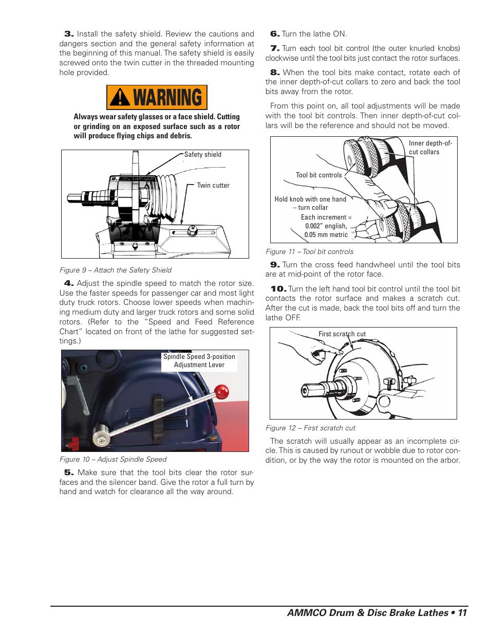 Warning, Ammco drum & disc brake lathes • 11 | AMMCO 4000E