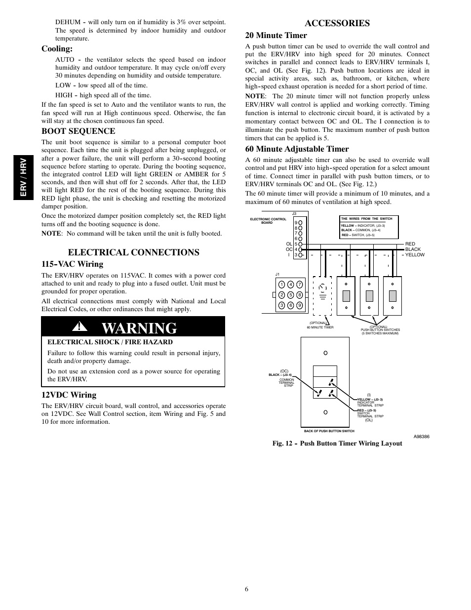 Warning Electrical Connections Accessories Bryant Energy Heat 115 Vac Plug Wiring Recovery Ventilator Ervbbsva1100 User Manual Page 6 13