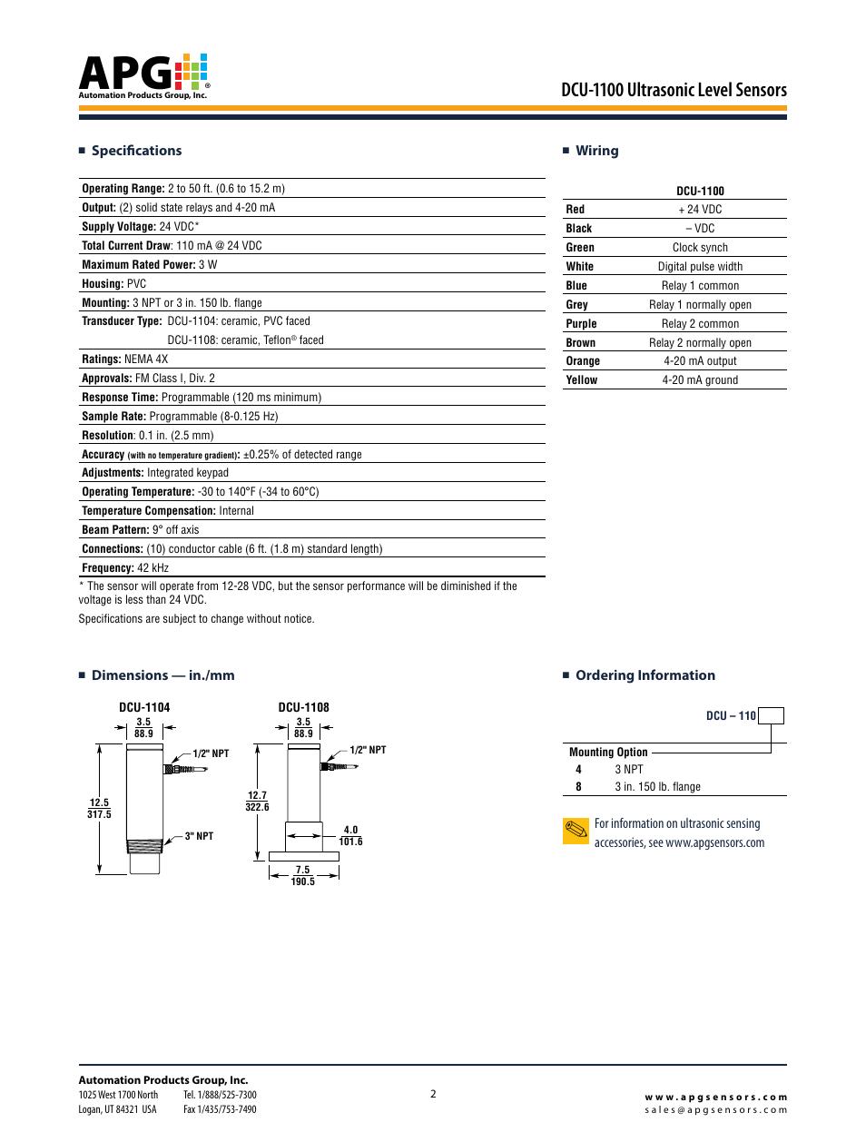 Dcu-1100 ultrasonic level sensors, Dimensions — in./mm, Wiring  