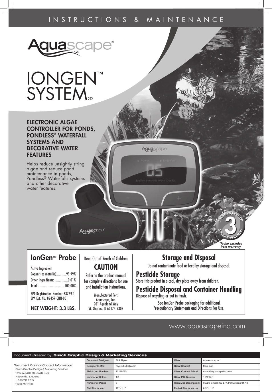 Aquascape IonGen Generation G2 (95027) User Manual | 8 pages