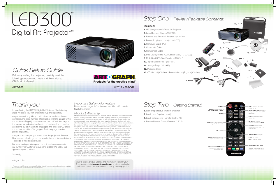 artograph led 300 quick setup guide user manual 2 pages
