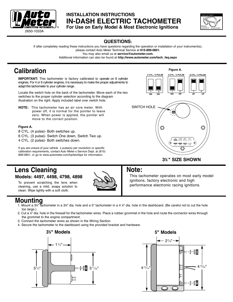 auto meter 1490 user manual 2 pages also for 1890 1390