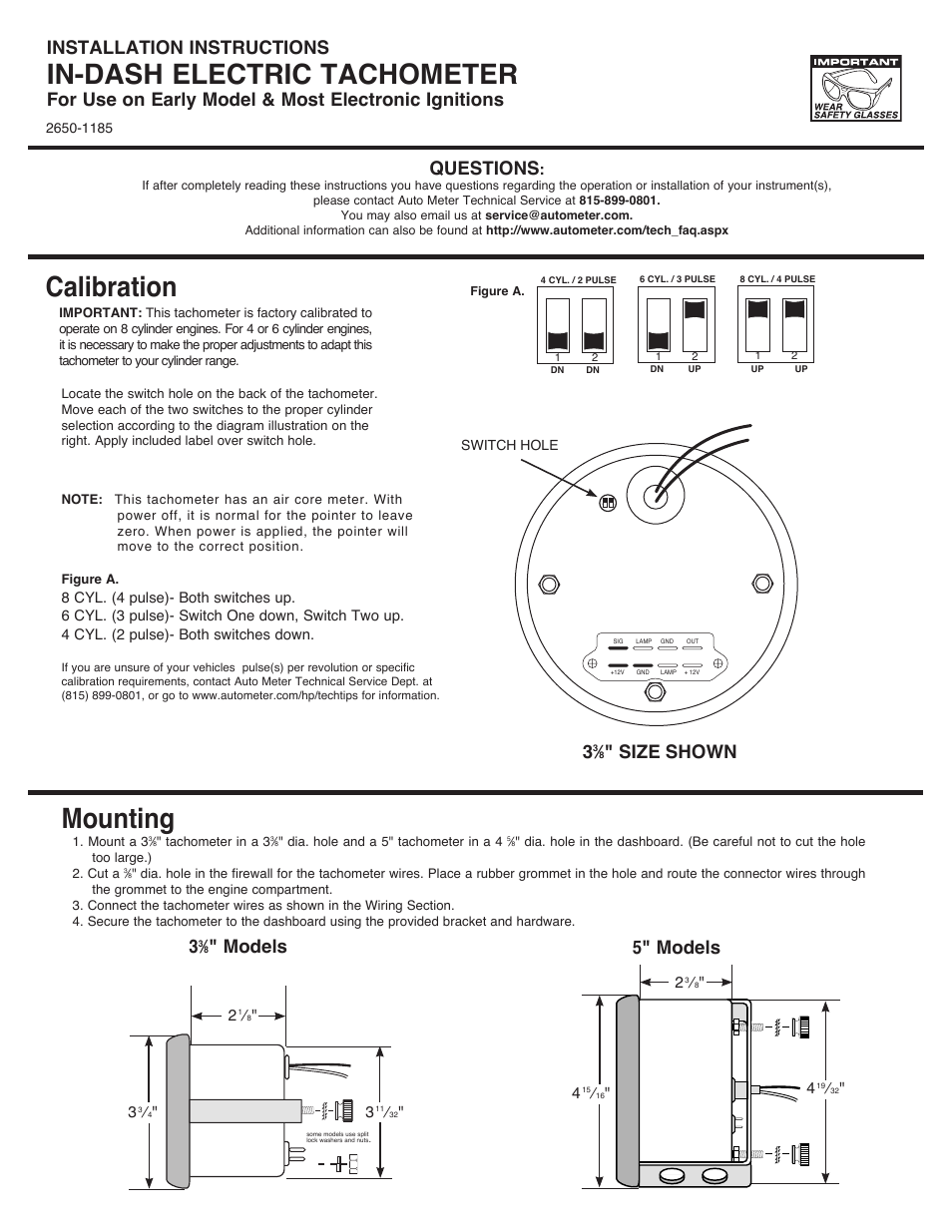 Auto Meter 5898 User Manual | 2 pages | Also for: 1499, 4898 ... on