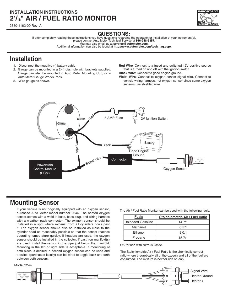 Auto Meter 6175 User Manual