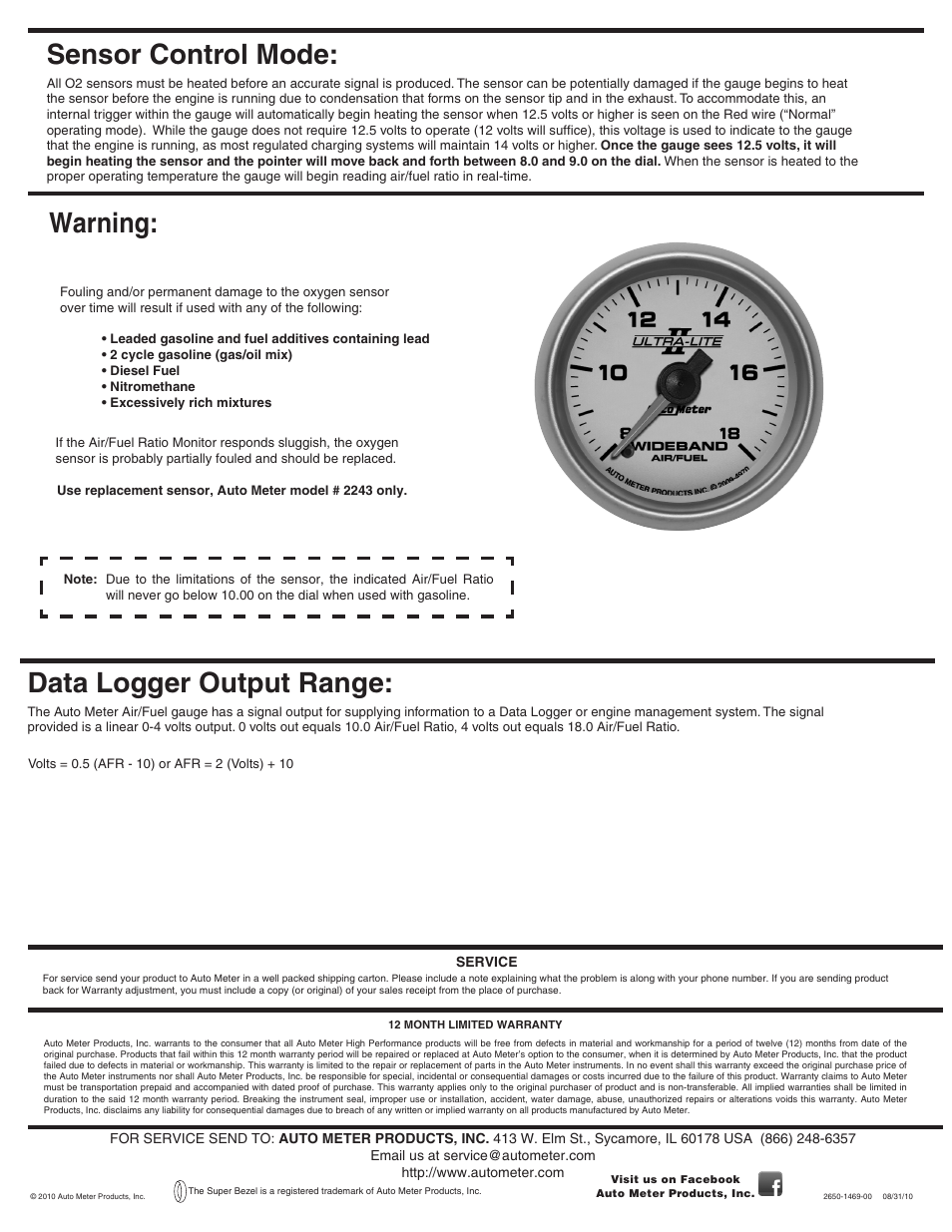Sensor Control Mode  Warning  Data Logger Output Range