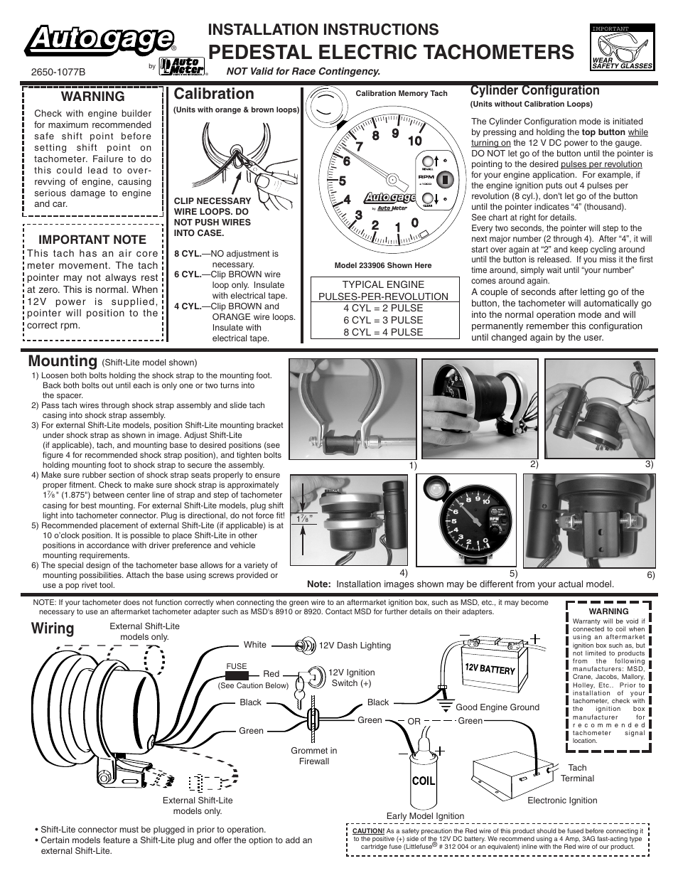 auto meter 233907 page1 how to install an auto meter pro comp ultra lite voltmeter gauge autometer sport comp fuel gauge wiring diagram at cos-gaming.co