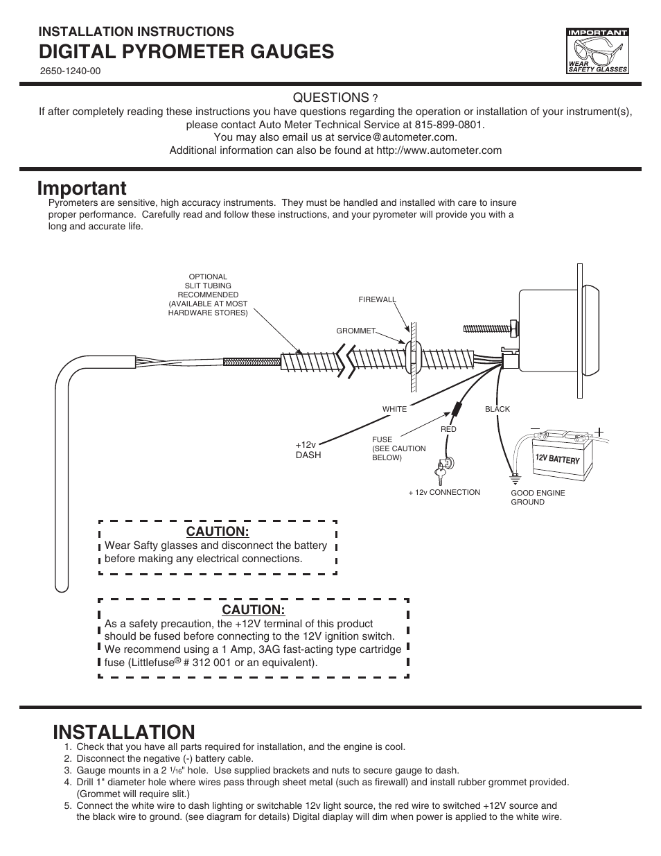 Auto Meter 6345 User Manual 2 Pages Also For 6545 6945 Battery Safety Disconnect Switch Wiring Diagram