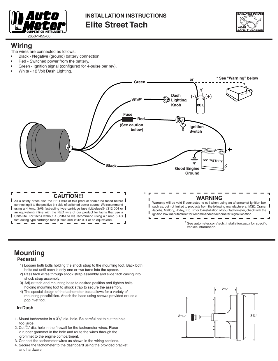 Tach Wire Diagram Another Blog About Wiring Dual Xdm 260 Harness Auto Meter Memory 1975 Mustang Tachometer Mooneyes Pro