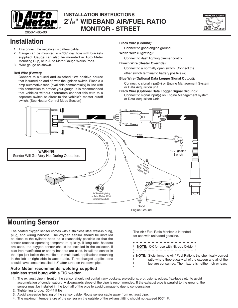 Auto Meter Fuel Wiring Diagram Manual Of Autometer Gauge Gas 28 Images