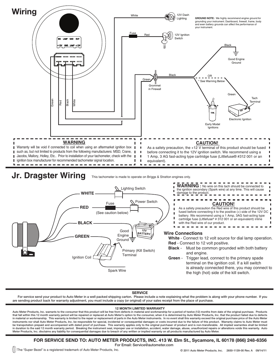 Wiring Jr Dragster Auto Meter 5780 User Manual Page 2 Tach To Msd 6al Box