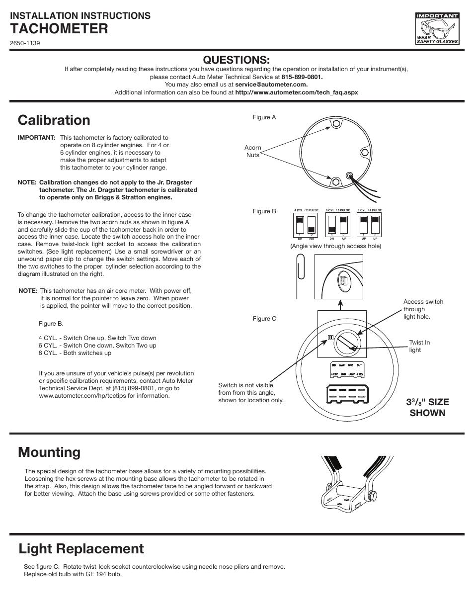 Auto Meter 2895 User Manual