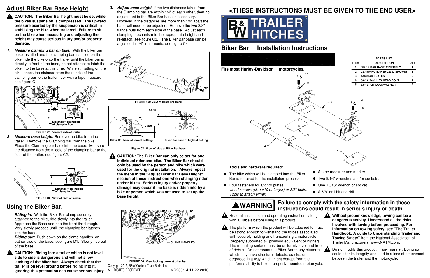 B&W Trailer Hitches MC2301 User Manual | 4 pages | Also for: MC2304,  MC2303, MC2302