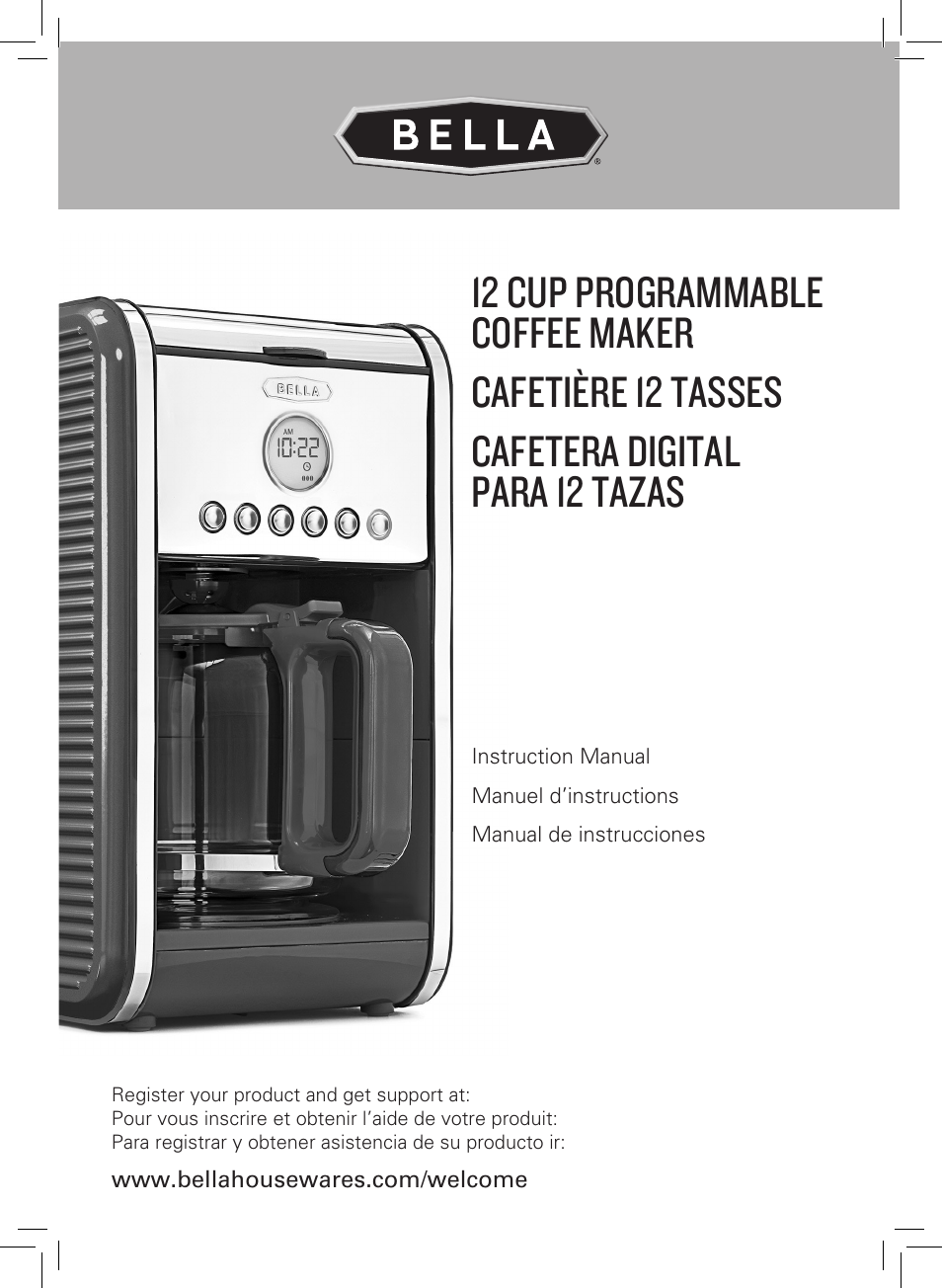 Bella Programmable Coffee Maker Manual : BELLA 14108 Linea Collection 12-Cup Programmable Coffee Maker User Manual 32 pages