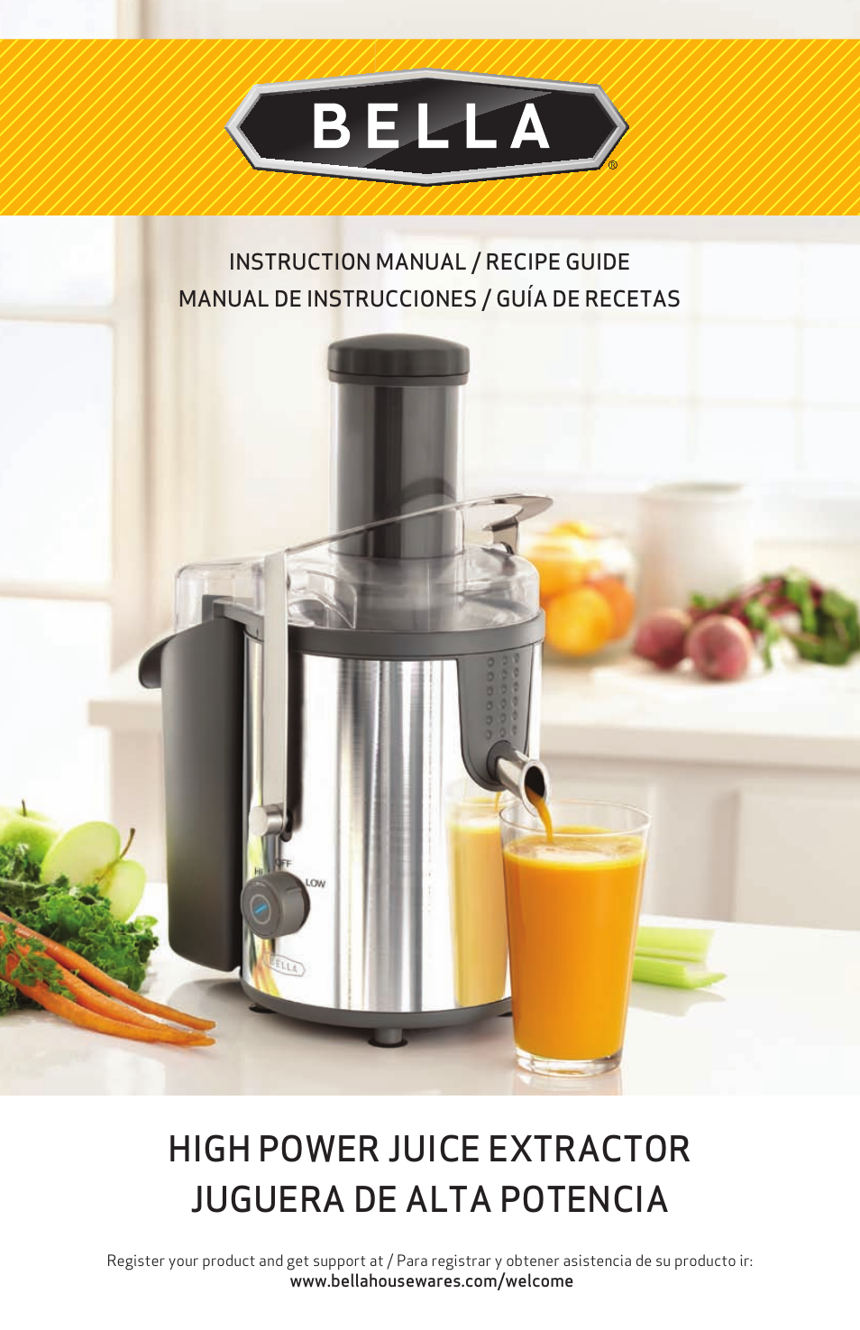 bella 13694 high power juicer user manual 36 pages rh manualsdir com GE Juice Extractor Model 106816 GE Juicer Walmart