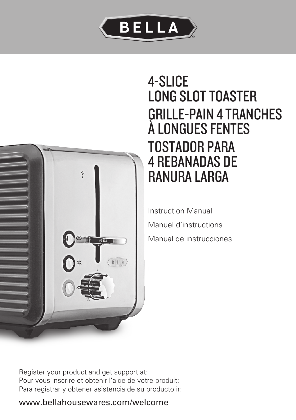 Ge 4 Slice Toaster ~ Bella linea collection slice long slot toaster
