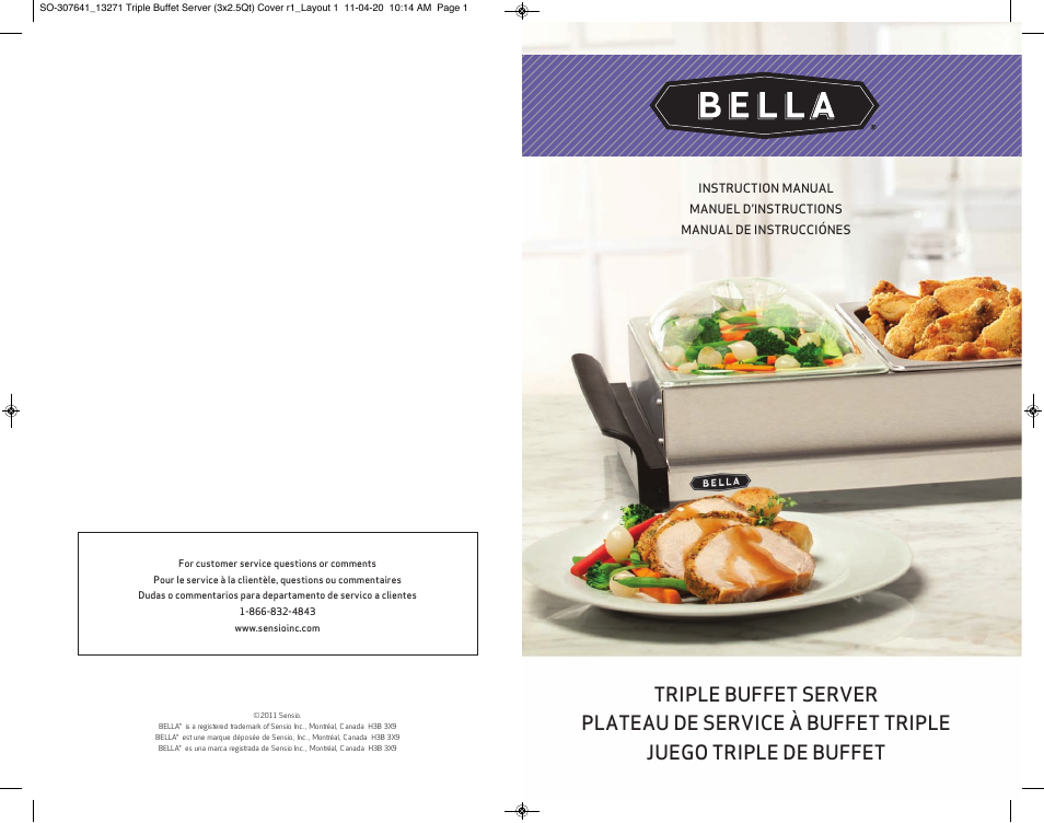 BELLA 13271 2 5 QT Triple Buffet Server and Warming Tray User Manual