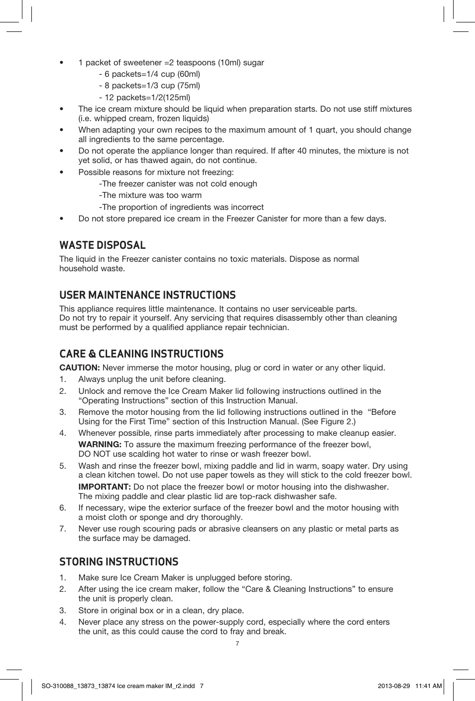 Waste Disposal  User Maintenance Instructions  Care