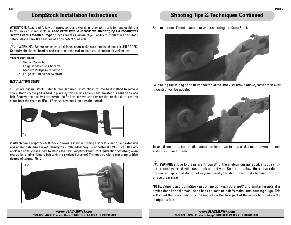 COMPSTOCK SHOTGUN STOCK User Manual