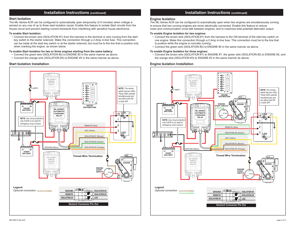 blue sea systems 7620100b ml acr heavy duty automatic charging relay 12v bulk page3 installation instructions, engine isolation, start isolation automatic charging relay wiring diagram at webbmarketing.co