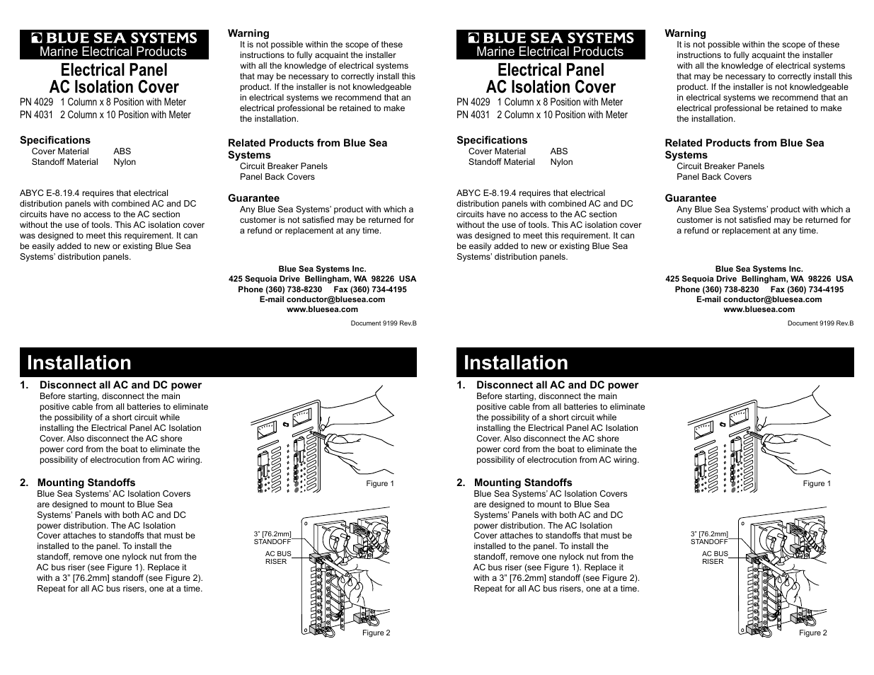 Blue Sea Systems 4027 Ac Isolation Cover 5 1 4 X 7 2x3 User Boat Wiring Manual 2 Pages Also For 4028 10 4029
