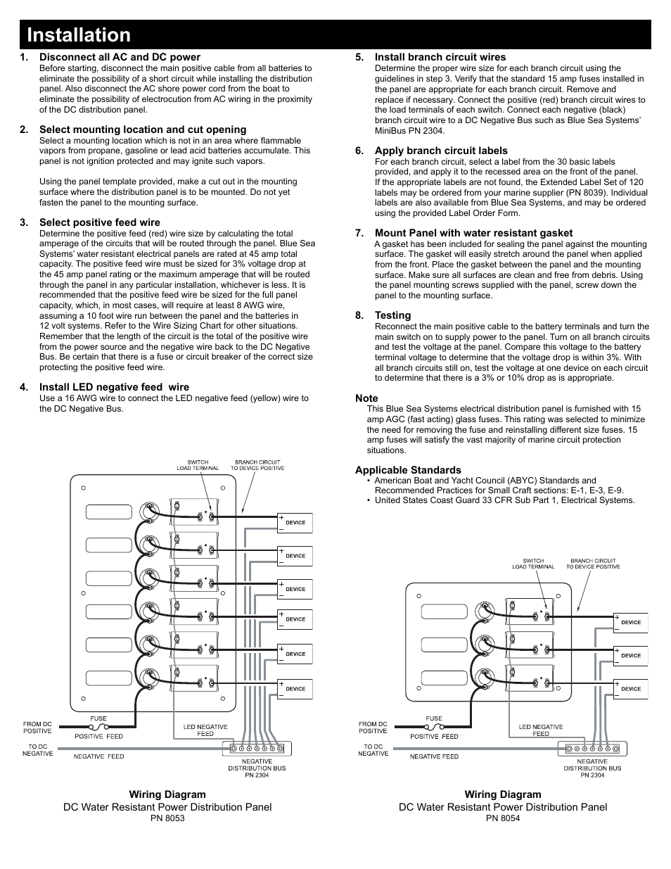 Installation Blue Sea Systems 8053 6 Position Slate Gray User Boat Distribution Panel Wiring Diagram Manual Page 2