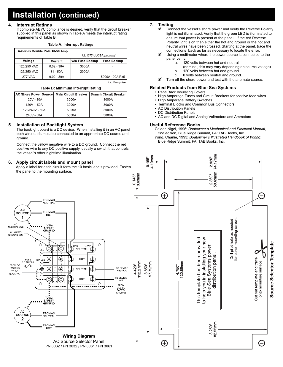 Installation Continued Blue Sea Systems 8032 Traditional Metal Ac Panel Wiring 120v 30a Toggle Source Selector User Manual Page 2