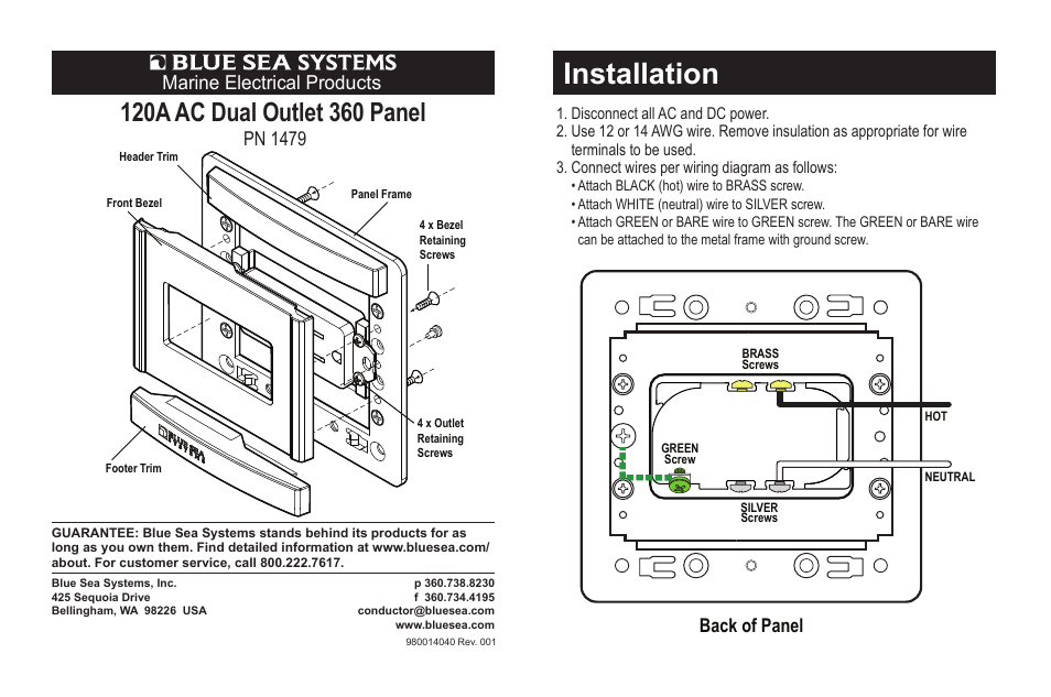 Blue Sea Systems 1479 360 Panel 120v Ac Dual Outlet User Manual