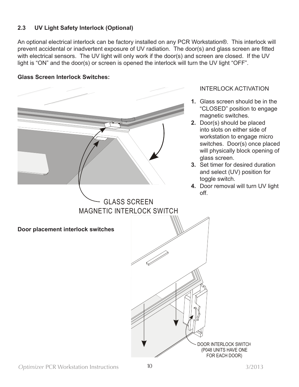 Glass screen magnetic interlock switch | C.B.S. Scientific PP-048-202-SS  User Manual | Page 11 / 21