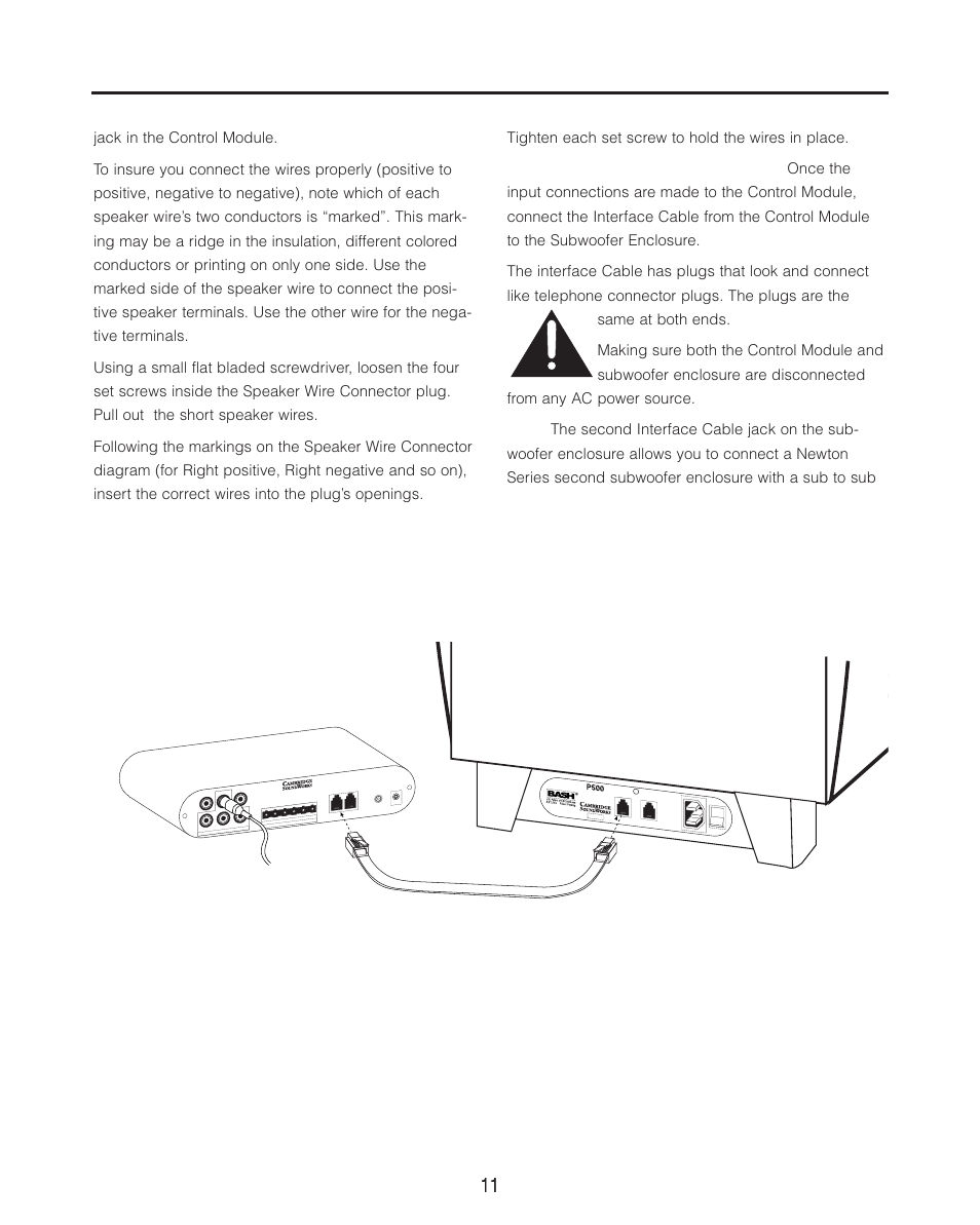 Cambridge Soundworks P500 Subwoofer User Manual Page 11 16 Speaker Connection Diagram Also For P1000