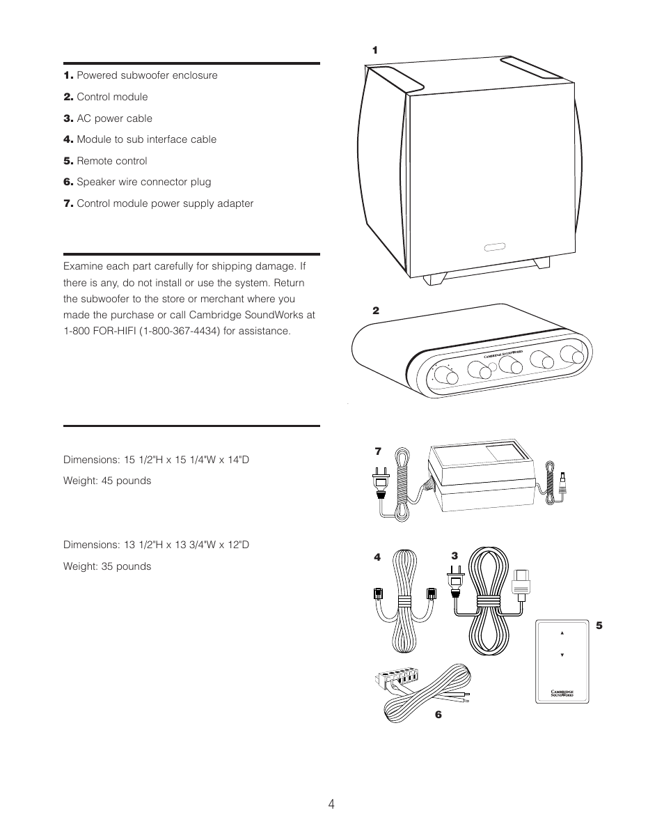 Cambridge SoundWorks P500 Subwoofer User Manual | Page 4 / 16 | Also for:  P1000 Subwoofer