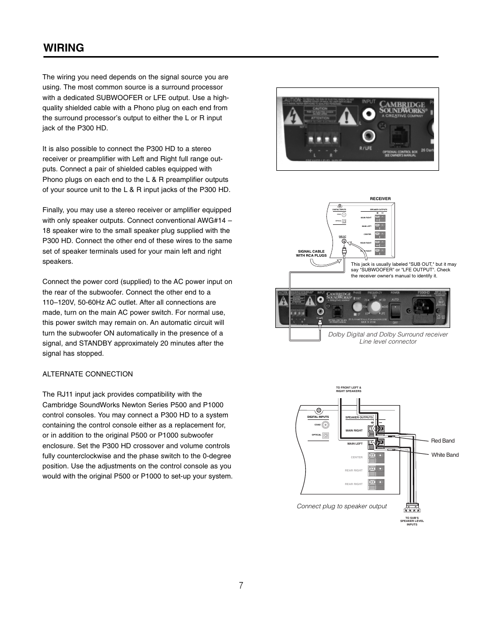 Wiring | Cambridge SoundWorks HD P300HD High Definition Powered Subwoofer  User Manual | Page 7 /