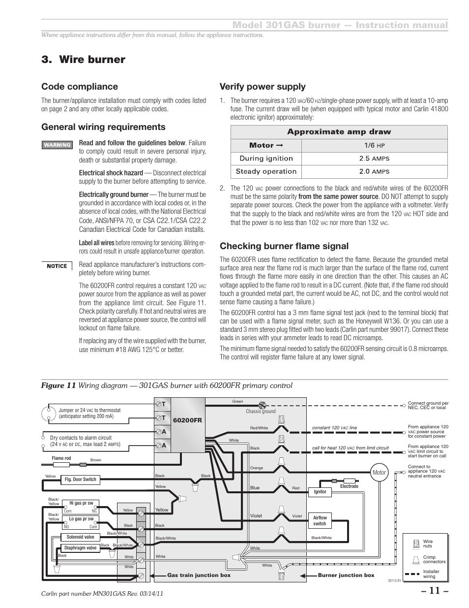 Wire burner, Model 301gas burner — instruction manual, General ...