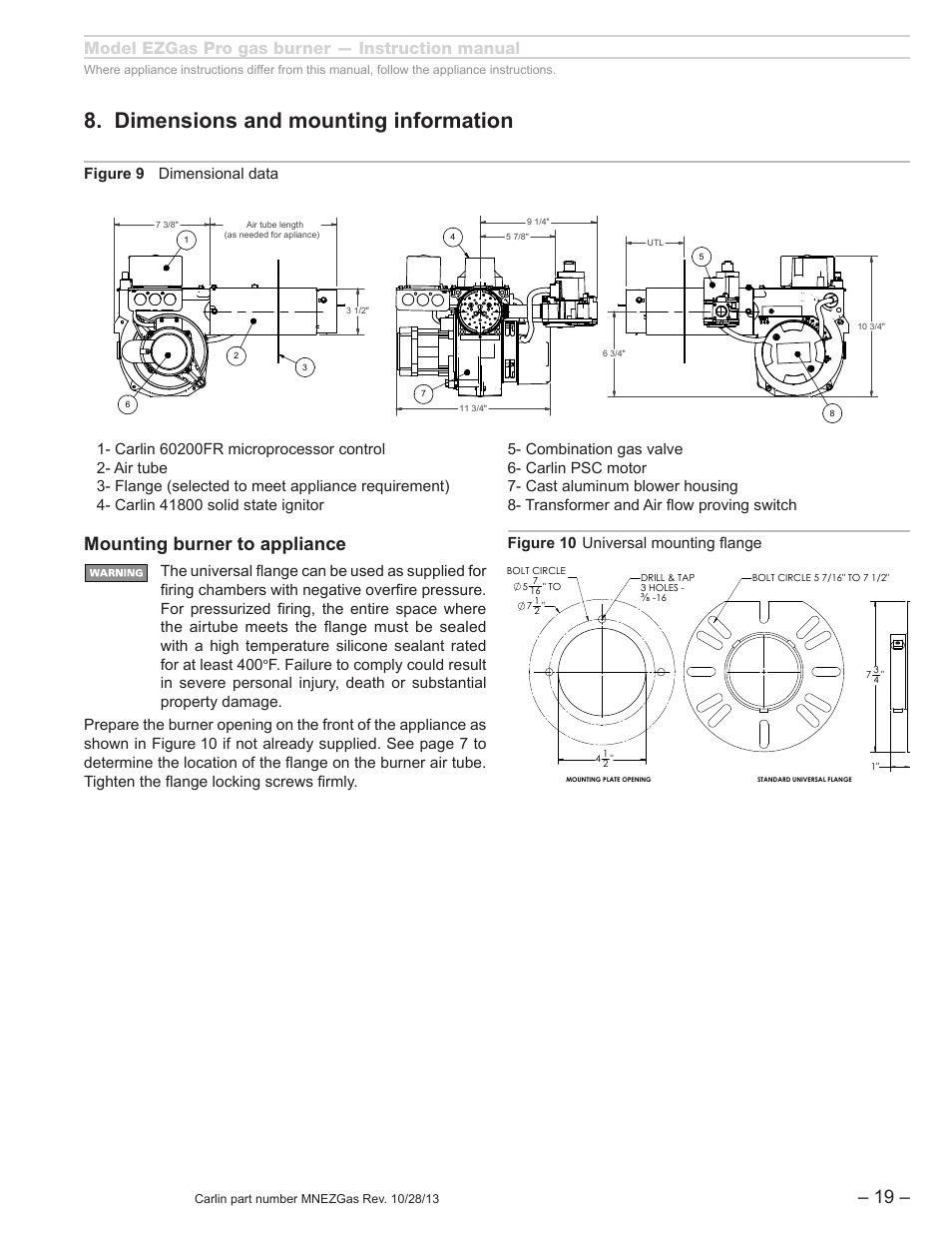 Dimensions and mounting information, Mounting burner to appliance, Model  ezgas pro gas burner —