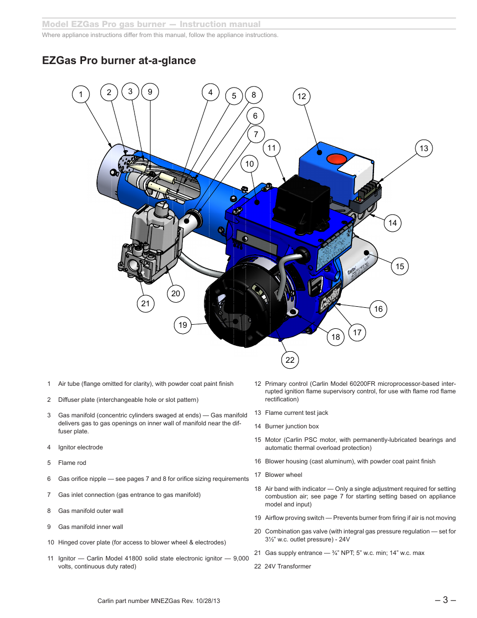 Ez gas_reva_flippedelectrode_1, Bsize, Ezgas pro burner at-a-glance | Carlin  EZGasPro User Manual | Page 3 / 24
