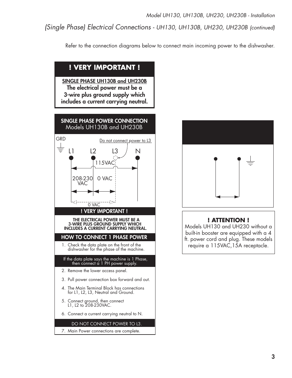 Single phase) electrical connections, Very important, L1 l2 l3 n | CHAMPION  UL-130 Manual User Manual | Page 13 / 116