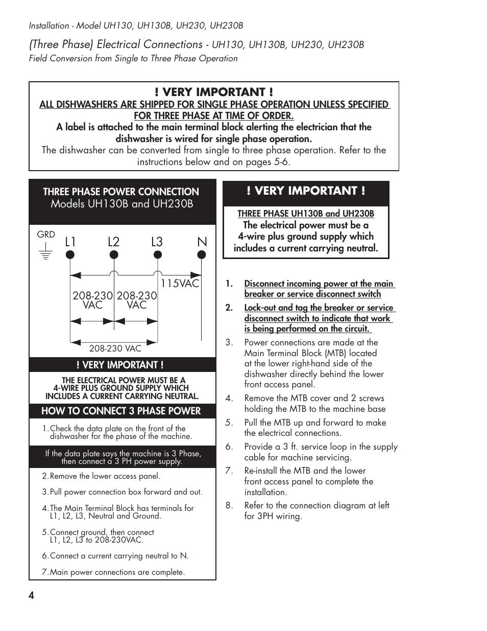 Champion Dish Machine Wiring Diagram Worksheet And 722 Receiver L1 L2 L3 N Ul 130 Manual User Page 14 116 Rh Manualsdir Com Network Installation Diagrams Hopper