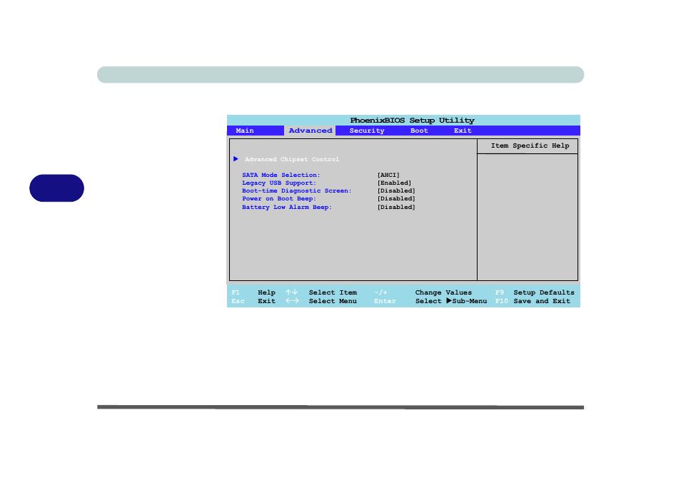 Advanced menu, Advanced chipset control (advanced menu), Bios