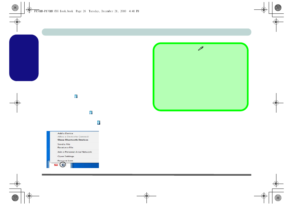 Bluetooth configuration, To turn the bluetooth module on