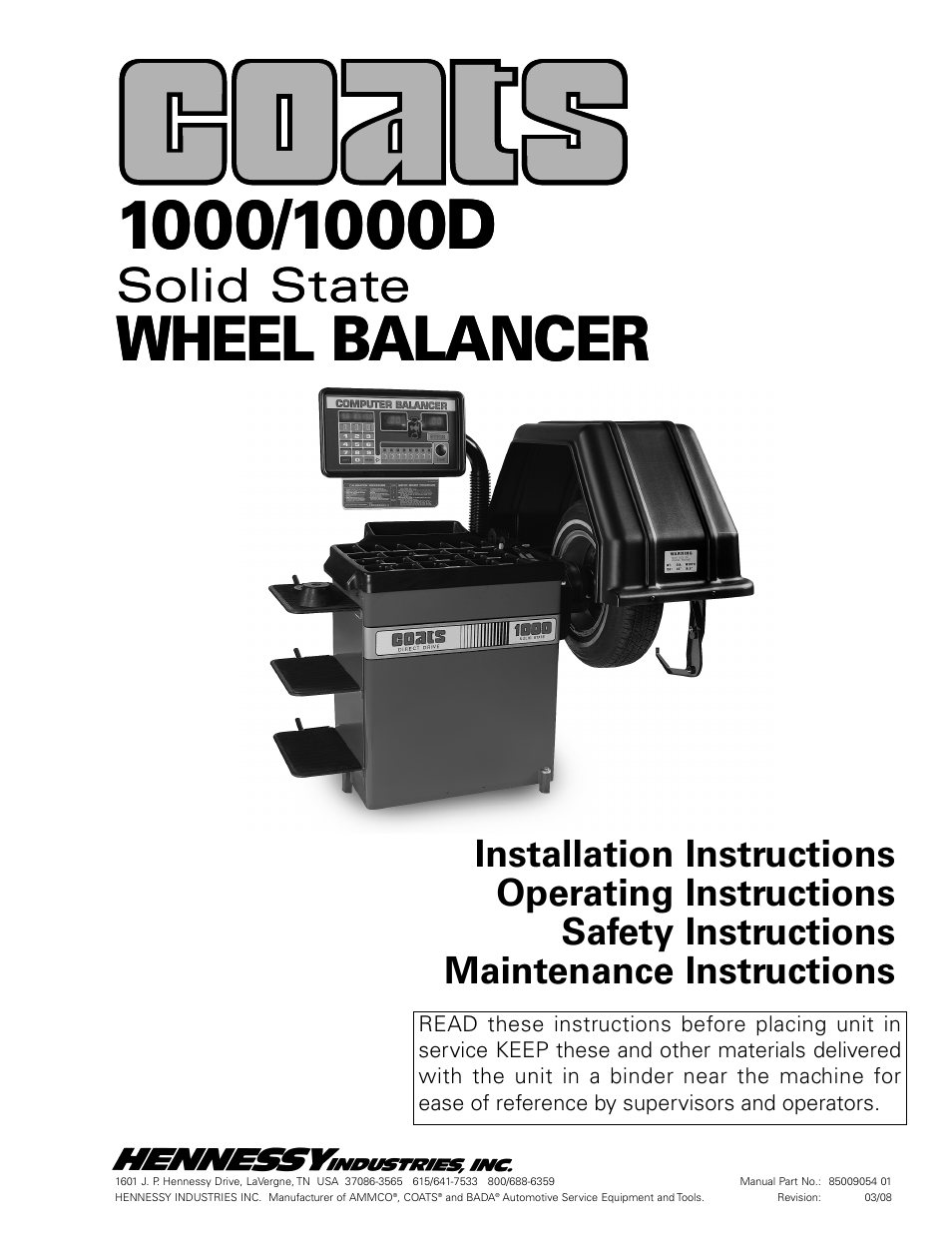 Coats 1000    1000d Balancer User Manual