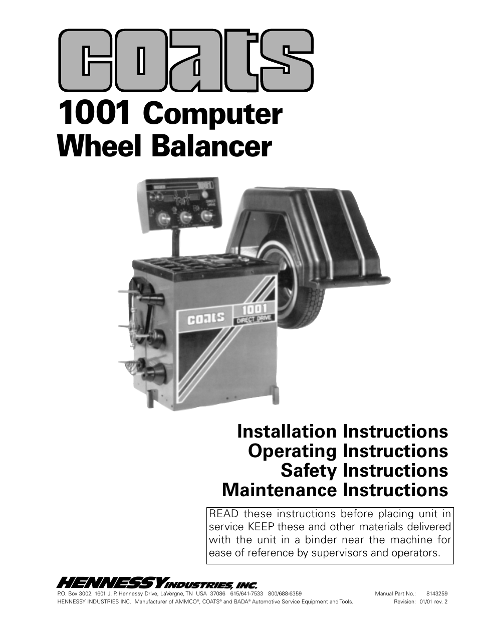 Coats 1001  U0026 1001sc Balancer User Manual