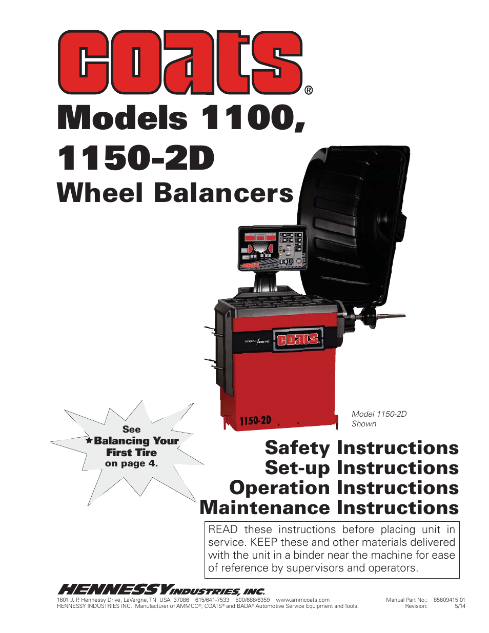 Coats 1004 Wheel Balancer Manual
