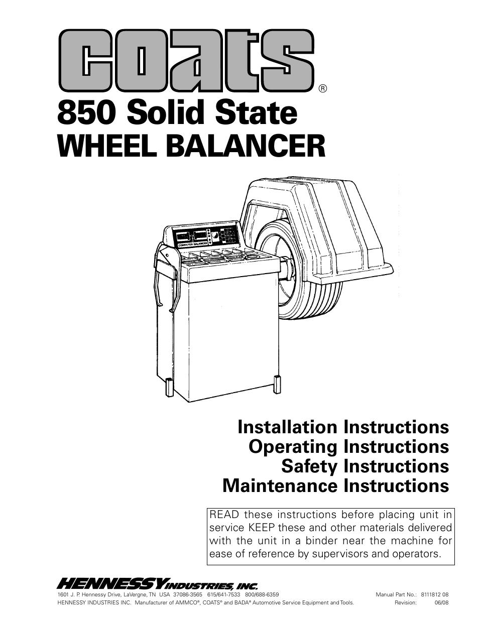 Coats 850 Solid State Wheel Balancer User Manual