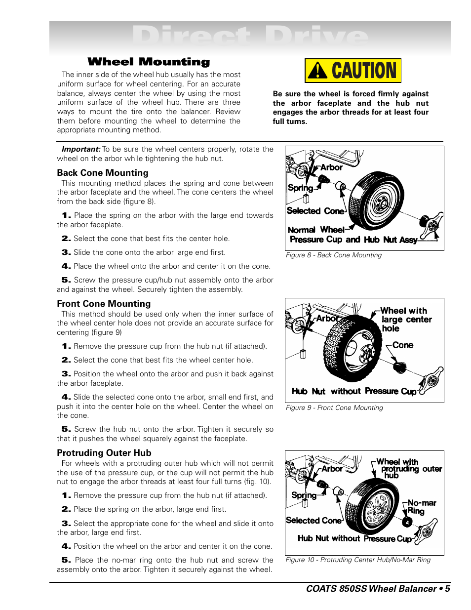 Direct drive, Caution, Wheel mounting | COATS 850 Solid State Wheel Balancer  User Manual