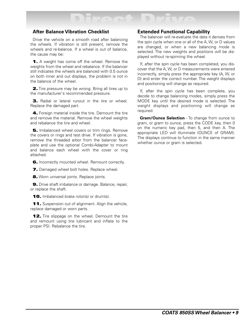 Direct drive | COATS 850 Solid State Wheel Balancer User Manual | Page 15 /  20