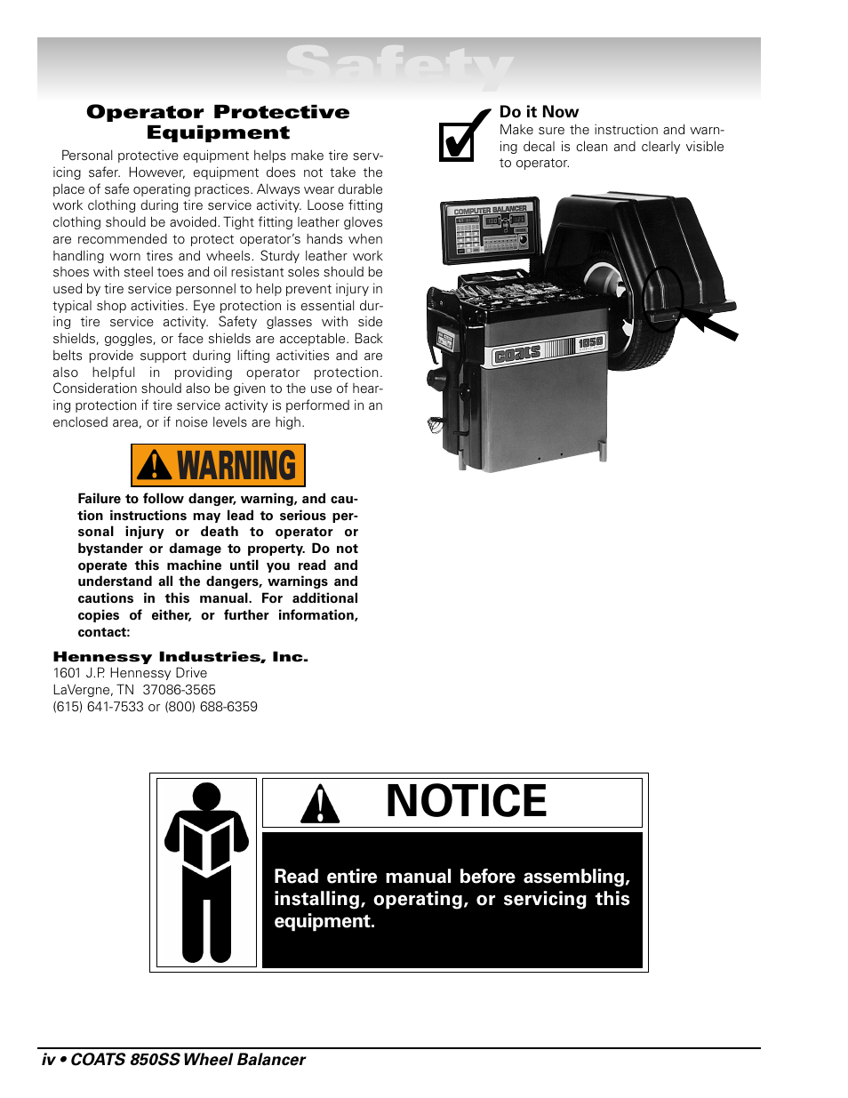 Safety, Notice, Warning | COATS 850 Solid State Wheel Balancer User Manual  | Page 4 / 20